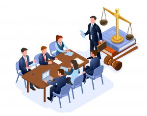 vector-graphic-illustration-of-lawyers-at-a-conference-table-with-gavel-scales-and-law-books